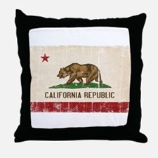 California Flag Distressed Throw Pillow