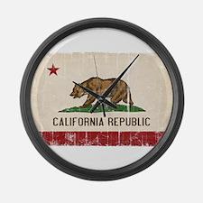 California Flag Distressed Large Wall Clock
