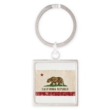 California Flag Distressed Square Keychain