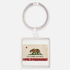 California Flag Distressed Square Keychain