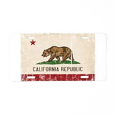 California Flag Distressed Aluminum License Plate