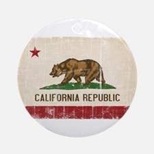 California Flag Distressed Ornament (Round)