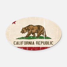 California Flag Distressed Oval Car Magnet