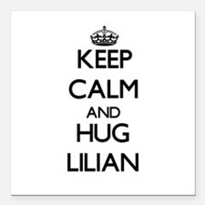 "Keep Calm and HUG Lilian Square Car Magnet 3"" x 3"""