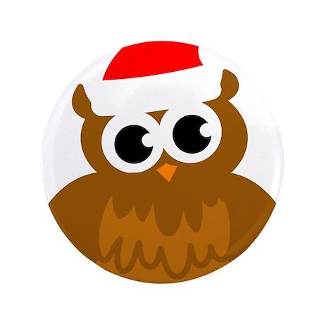 "Christmas owl cartoon 3.5"" Button (100 pack)"
