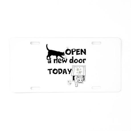 Open New Door Today Aluminum License Plate