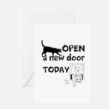 Open New Door Today Greeting Cards