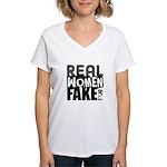 Real Women Fake Fur Women's V-Neck T-Shirt