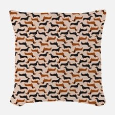 Dachshund Tan Woven Throw Pillow