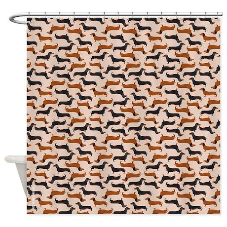 dachshund tan shower curtain by carolinaswagger