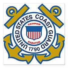 "US Coast Guard Square Car Magnet 3"" x 3"""