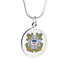 US Coast Guard Silver Round Necklace