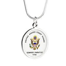 Semper Paratus Silver Round Necklace