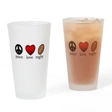 Rugby Peace Love Rugby Drinking Glass