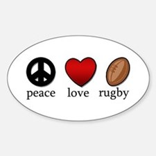 Rugby Peace Love Rugby Decal