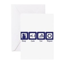 Sleep- Code- Eat- Repeat Greeting Cards (Package o
