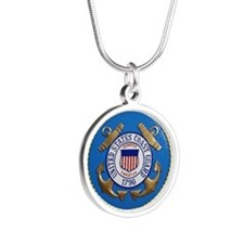 USCG Emblem Silver Round Necklace