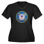 USCG Emblem Women's Plus Size V-Neck Dark T-Shirt