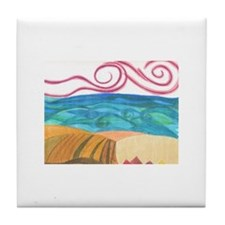 wind, ocean and land Tile Coaster