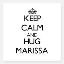 "Keep Calm and HUG Marissa Square Car Magnet 3"" x 3"