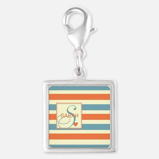 Mid-Tone Stripe Monogram - Personalized Silver Squ