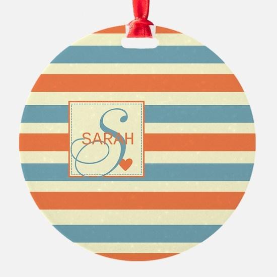 Mid-Tone Stripe Monogram - Personalized Ornament
