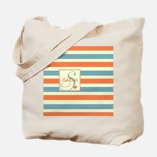 Mid-Tone Stripe Monogram - Personalized Tote Bag