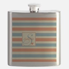 Mid-Tone Stripe Monogram - Personalized Flask