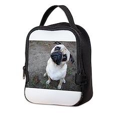 The curious pug! Neoprene Lunch Bag