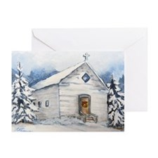 Christmas At A Small County Church Greeting Cards