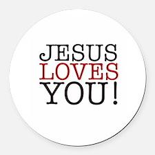 Jesus loves You! Round Car Magnet