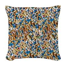 Pile of Pills Woven Throw Pillow