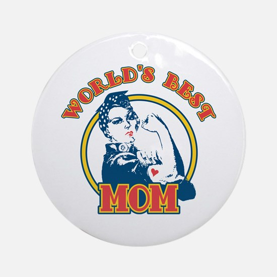 Rosie Riveter Best Mom Ornament (Round)