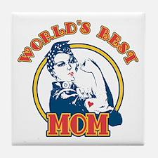 Rosie Riveter Best Mom Tile Coaster