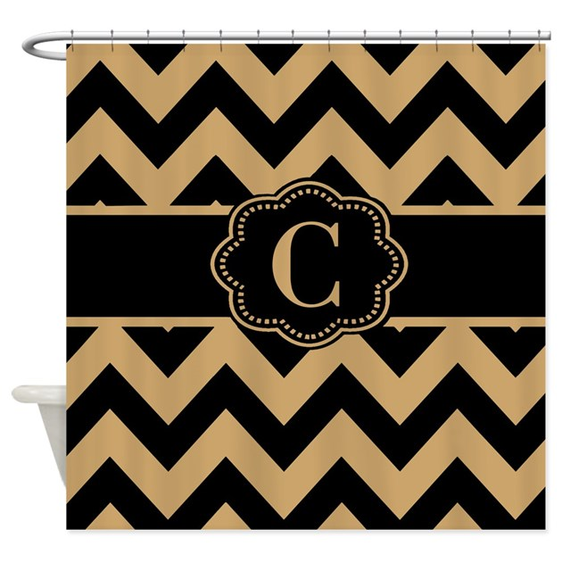 Beige Black Chevron Monogram Shower Curtain By