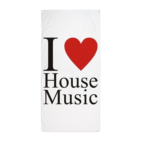 I Love House Music Beach Towel By Rt House