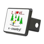 I Love X Country Rectangular Hitch Cover