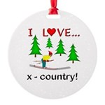 I Love X Country Round Ornament