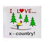 I Love X Country Throw Blanket