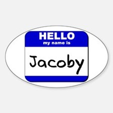 hello my name is jacoby Oval Decal