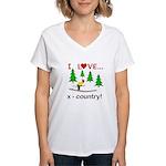 I Love X Country Women's V-Neck T-Shirt