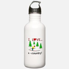 I Love X Country Water Bottle