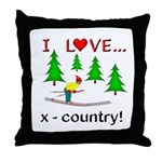 I Love X Country Throw Pillow