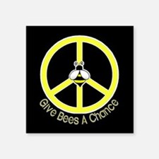 Give Bees A Chance Dark Rectangle Sticker