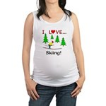 I Love Skiing Maternity Tank Top
