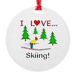 I Love Skiing Round Ornament