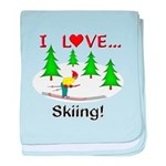 I Love Skiing baby blanket