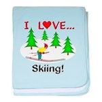 I Love Skiing baby blanket