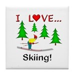 I Love Skiing Tile Coaster