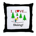 I Love Skiing Throw Pillow
